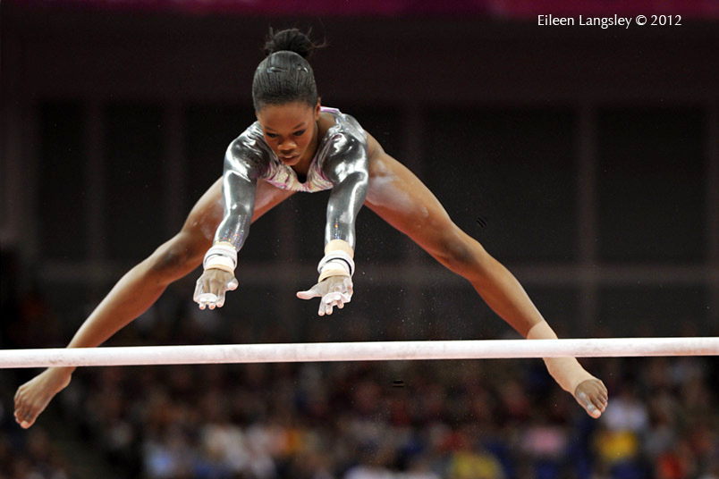 Gabrielle Douglas (USA) winner of the gold medal in the all around competition competing on bars at the London 2012 Olympic Games.