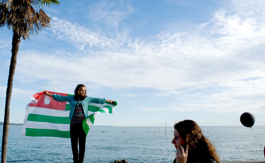 University students on the black sea coast in Abkhazia.