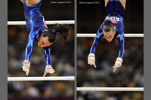 The oldest and youngest members of the British Women's team - Beth Tweddle (left) and Rebecca Tunney (right) compete on asymmetric bars in the team event during the Artistic Gymnastics competition of the London 2012 Olympic Games.