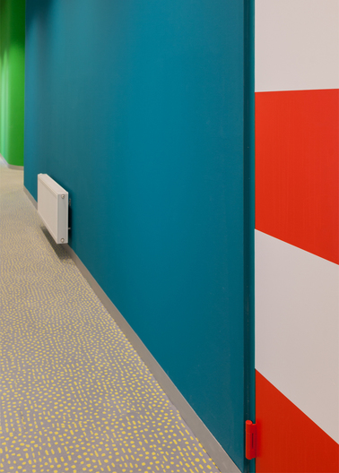 Award winning series of CRAB Studios colourful building for