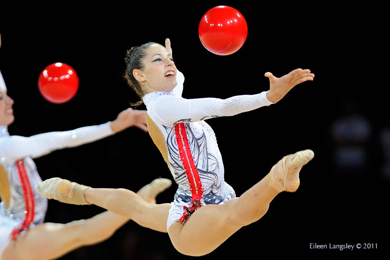 The group from Greece competing at the World Rhythmic Gymnastics Championships in Montpellier.
