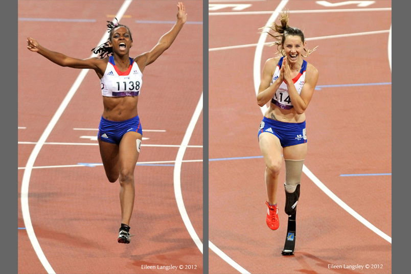Mandy Francois-Elie (France)  left and Marie-Amelie le Fur right are delighted when they win the T37 and T44 100 metres races respectively during the Athletic competition at the London 2012 Paralympic Games.