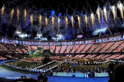 The competitors and officials in the stadium during the Opening Ceremony at the London 2012 Olympic Games.