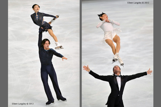 Yuko Kavaguti and Alexander Smirnov (Russia) winners of the Gold Medal competing in the Pairs event at the 2012 ISU Grand Prix Trophy Eric Bompard at the Palais Omnisports Bercy