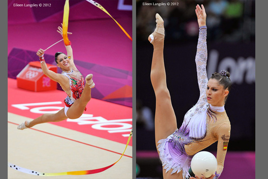 Carolina Rodriguez (Spain) showing different expressive moods during the Rhythmic Gymnastics competition of the London 2012 Olympic Games.
