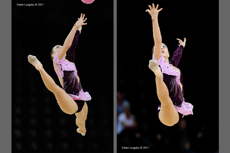 Sylviya Miteva (Bulgaria) competing with Ball at the World Rhythmic Gymnastics Championships in Montpellier.