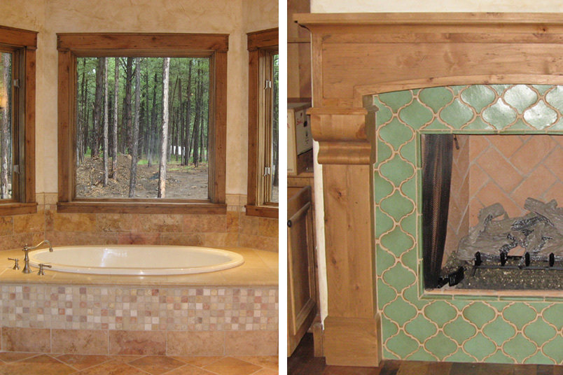 kiwi Green obilesque tile surrounds this custom wood fireplace designed for the office. At left, french ivory and red limestone decorate the tub apron, while the mountain view speaks for iteslf.
