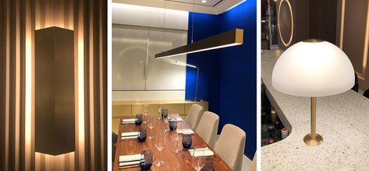 Solid brass, custom wall sconces, linear LED pendant and bar mount lamp for cafe in Holt Renfrew flagship store