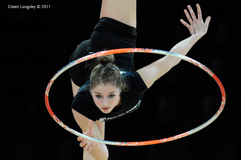 A cropped generic image of a gymnast training with Hoop at the World Rhythmic Gymnastics Championships in Montpellier.