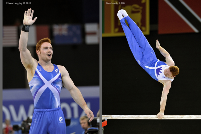 Daniel Purvis (Scotland) wins the gold on Parallel Bars at the Gymnastics competition of the 2014 Glasgow Commonwealth Games.