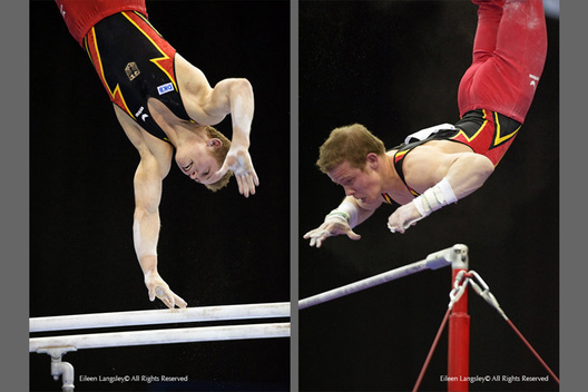 A double image of Fabian Hambuechen (Germany) competing on the Parallel Bars (left) and the High Bar (right) at the 2010 European Gymnastics Championships in Birmingham.