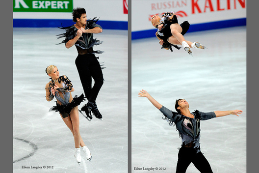Tatiana Volosozhar and Maxim Trankov (Russia) competing the Pairs event at the 2012 European Figure Skating Championships at the Motorpoint Arena in Sheffield UK January 23rd to 29th.