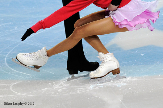 A generic image of the feet of pairs skaters competing at the 2012 European Figure Skating Championships at the Motorpoint Arena in Sheffield UK January 23rd to 29th.