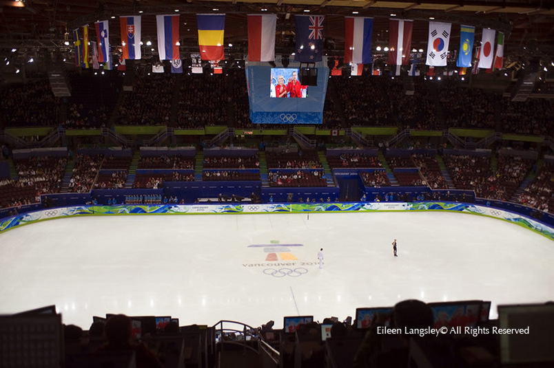 A general view of the Pacific Coliseum Ice Rink in Vancouver venue for the Figure Skating competitions of the 2010 Winter Olympic Games, with two skaters waiting to compete as the previosu skaters wait for their scores.