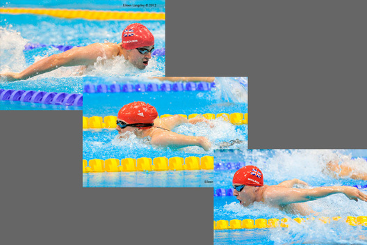 Robert Whelbourn, Susannah Rodgers andMatthew Walker (Great Britain) competing in butterfly events at the London 2012 Paralympic Games.
