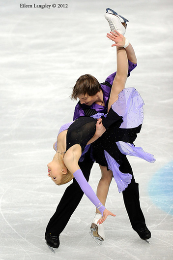 Alexandra Chistiakova and Dimitar Lichev (Bulgaria) competing the Dance event at the 2012 European Figure Skating Championships at the Motorpoint Arena in Sheffield UK January 23rd to 29th.