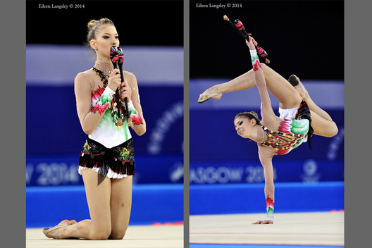 Themida Christodoulidou (Cyprus) competing with clubs during the Rhythmic Gymnastics competition at he 2014 Glasgow Commonwealth Games.