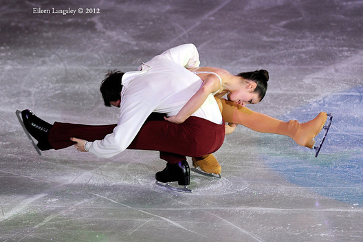 Stefania Berton and Ondrej Hotarek (Italy) perform a routine during the exhibition at the 2012 European Figure Skating Championships at the Motorpoint Arena in Sheffield UK January 23rd to 29th.