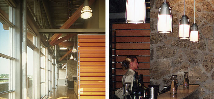 Custom HID architectural pendants incorporating standard prismatic refractors, lighting complete winemaking facility. Mouth blown custom glass / aluminum tasting room and retail store pendants