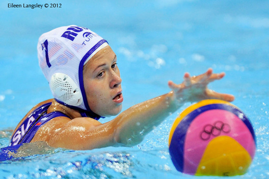 Ekaterina Lisunova (Russia) during the women's Water Polo match against Australia.