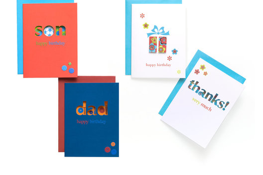 A range of cut-out greeting cards.