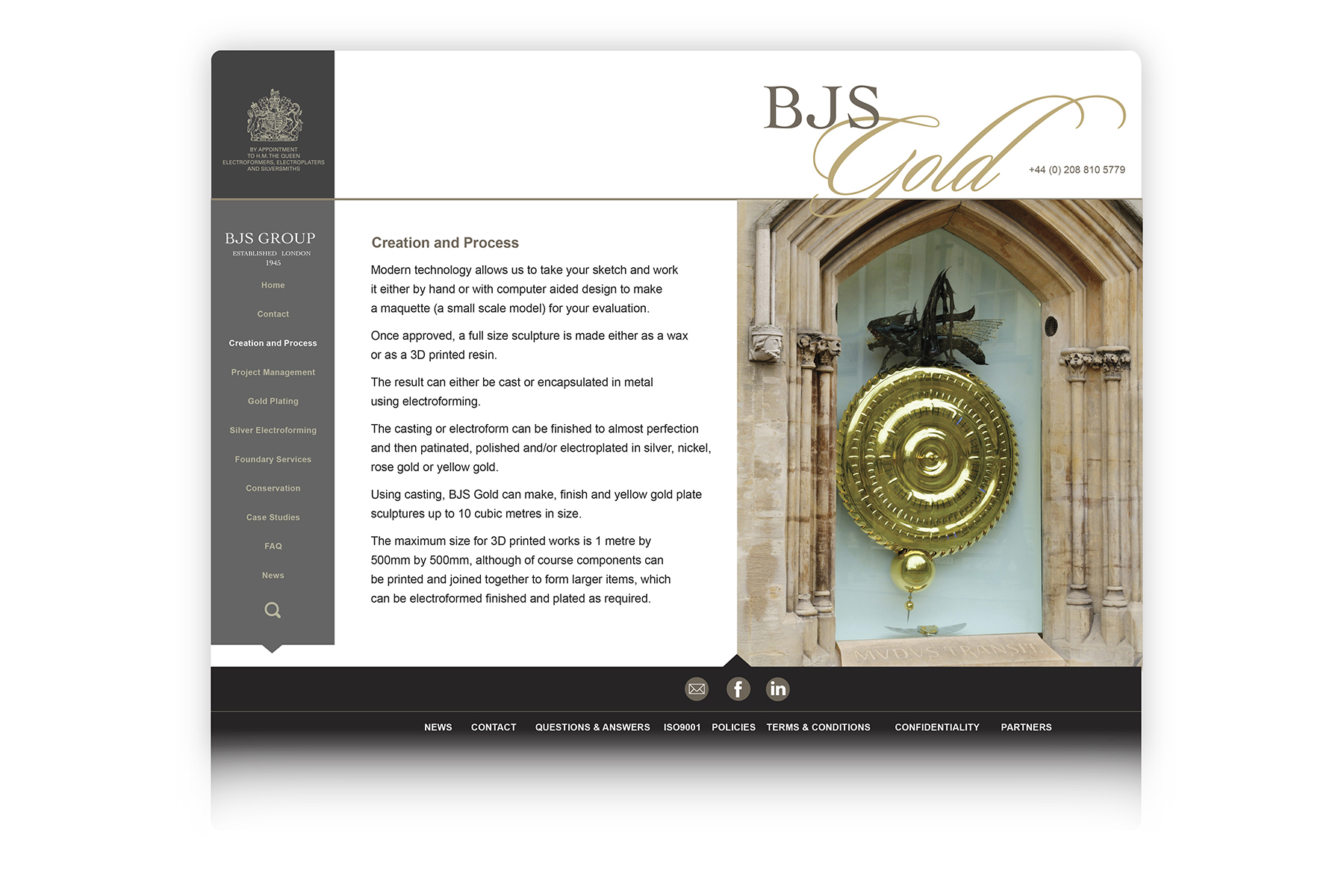 Part of the BJS Group, web site design for BJS Gold, offering high quality gold plating for artists and designers
