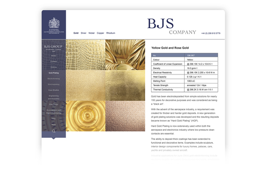 Part of the BJS Group, web site design for BJS Company, offering precision electroforming, electroplating and silversmithing for industrial application