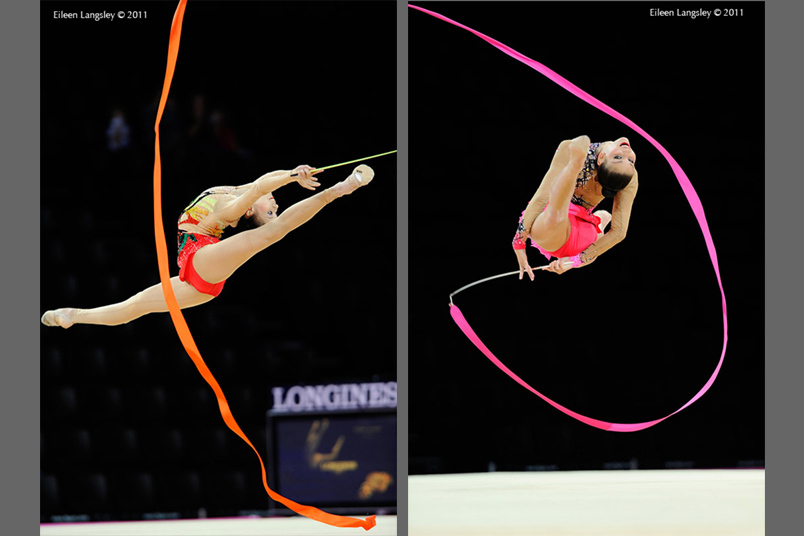 Deng Senyue (China) left and Dora Vass (Hungary) right show perfect split leaps while competing with Ribbon at the World Rhythmic Gymnastics Championships in Montpellier.