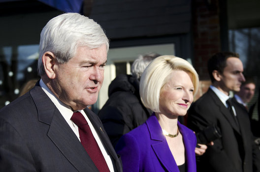 Newt and Calista Gingrich address the press.