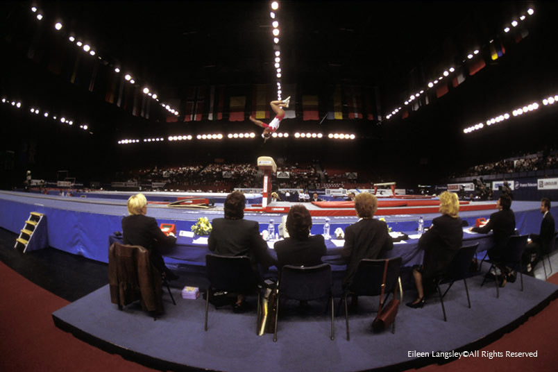 A wide angle image of the judging panel for women's vault at the European Gymnastics Championships in Birmingham.