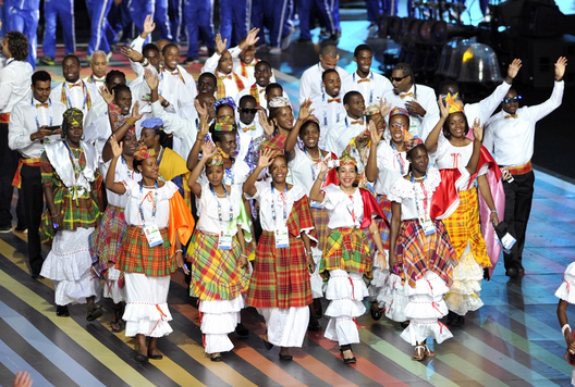 The team from St Lucia at the Opening Ceremony of the 2014 Glasgow Commonwealth Games.