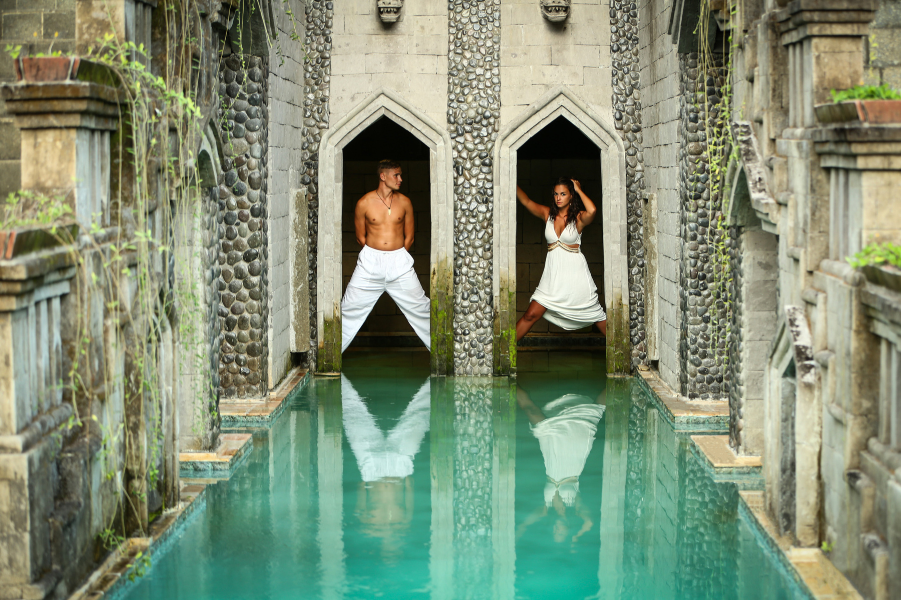 Engagement session in Bali Indonesia - couple in Ubud villa with Ubud destination wedding photographer Kathryn Cooper