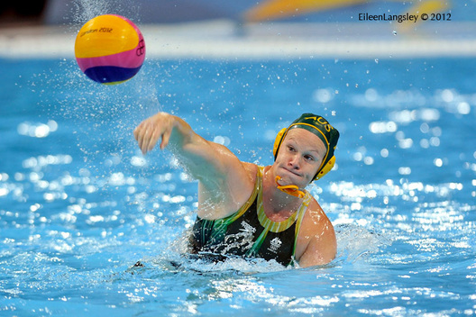 Australia score from a penalty during the women's Water Polo match against Russia.