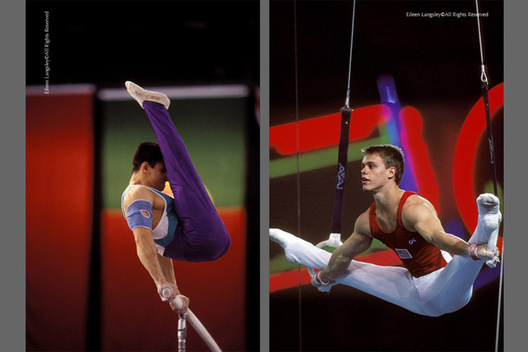 A double image of gymnasts Rustam Charipov (Ukraine) left and Lance Ringnald (USA) competing against colourful backgrounds on Parallel Bars and Rings respectively.