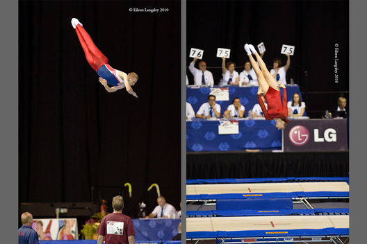 Trampolinists perform their routines under the close scrutiny of the judges at the 2010 British Championships at the National Indoor Arena Birmingham