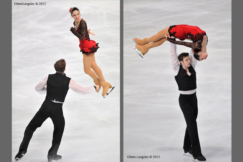 Stefania Burton and Ondrej Hotarek (Italy) competing in the Pairs event at the 2012 ISU Grand Prix Trophy Eric Bompard at the Palais Omnisports Bercy