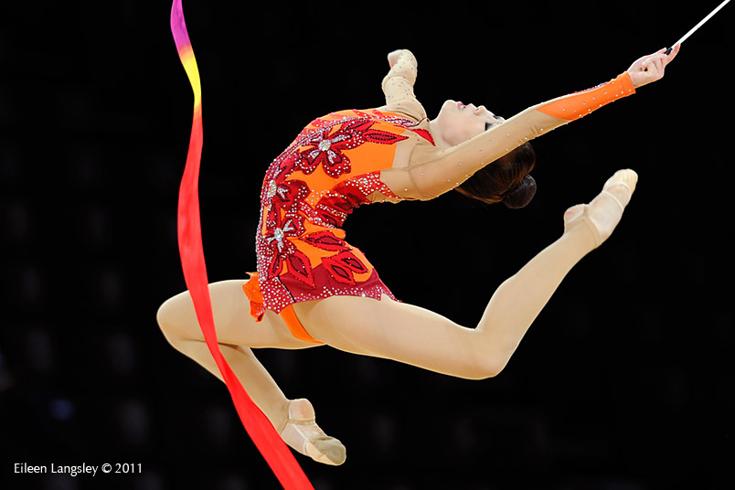 Gim Hun Yee (Korea) competing with Ribbon at the World Rhythmic Gymnastics Championships in Montpellier.