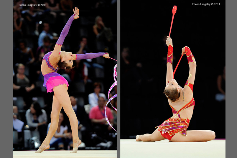 Frankie Jones (Great Britain) competing with Ribbon and Clubs at the World Rhythmic Gymnastics Championships in Montpellier.
