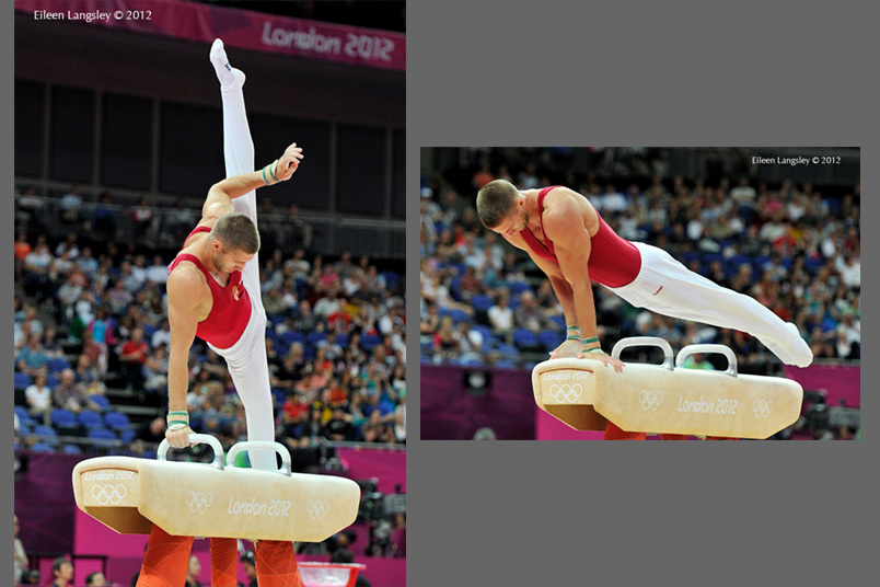 Krisztian Berki (Hungary) competing on Pommel Horse during the team competition of the Gymnastics event at the 2012 London Olympic Games.