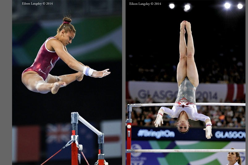 England's Becky Downie and Ruby Harrold competing on uneven  bars at the Gymnastics competition of the 2014 Glasgow Commonwealth Games.