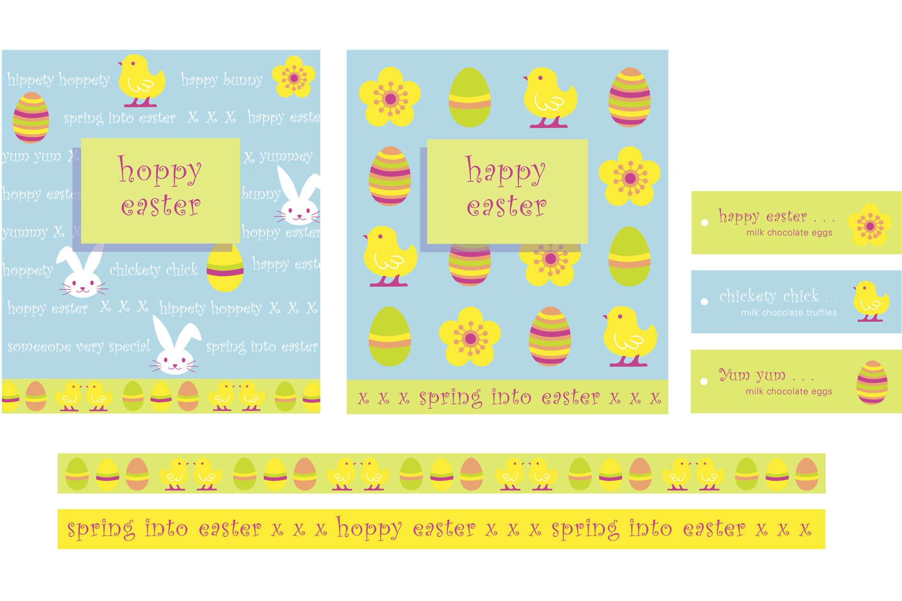 Seasonal Easter graphics for a range of confectionery and promotional decor.