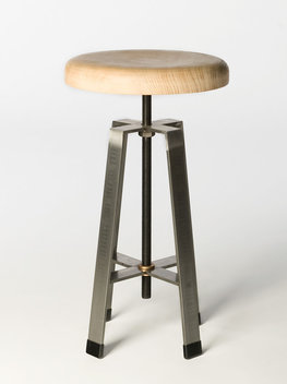 "Medium Stool is 21"" tall with adjustment of 4-6"". Top shown is Sinker Cypress pulled from a river in Mississippi.  Stools are made from cold rolled steel bar."