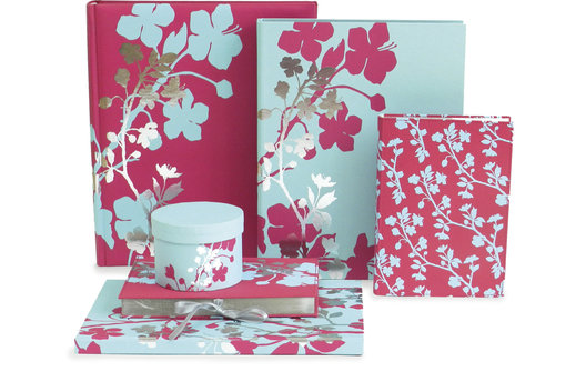 Blossom Stationery, showing design application across a wide range of products.