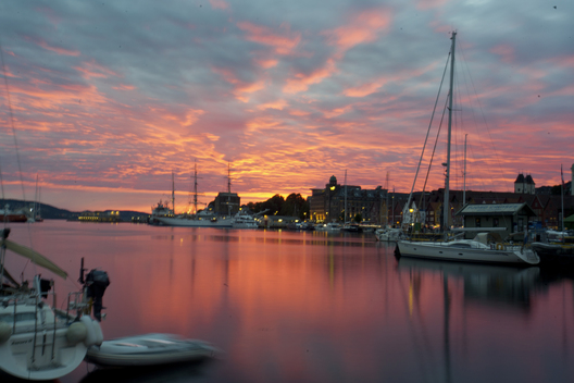 A late evening summer sunset at the Bergen Harbor in Norway.