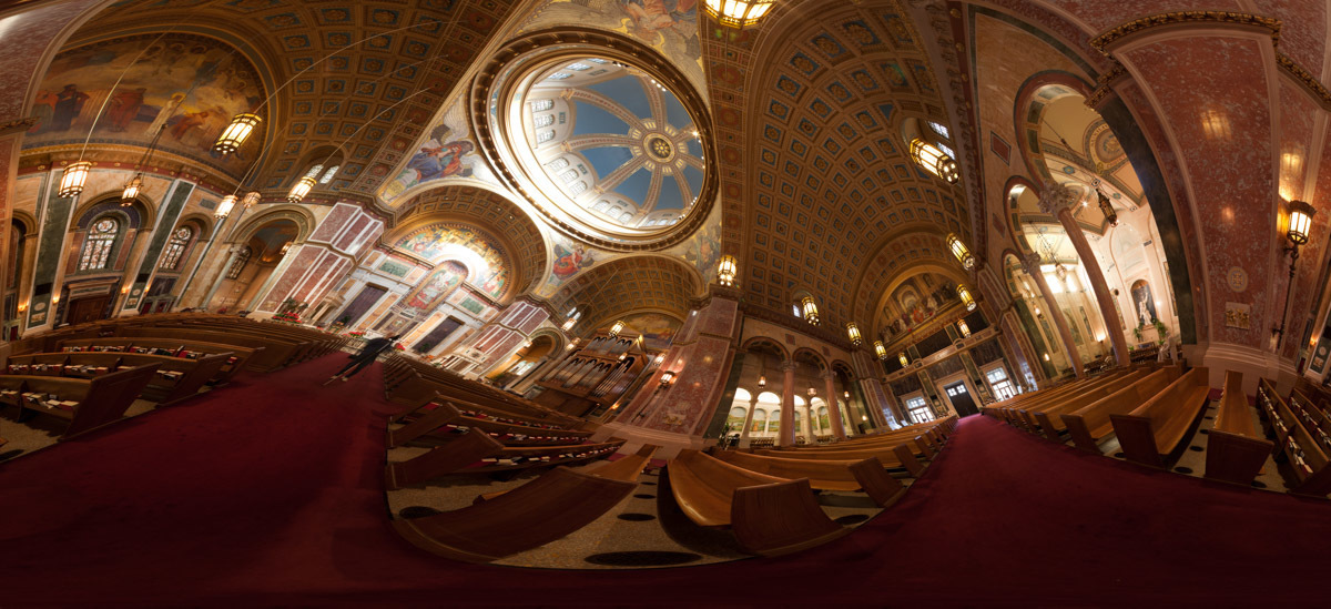 360 degree panorama made from 59 individual images of the Cathedral of St. Matthew in Washington, DC.  Named after Saint Matthew the Apostle, the patron saint of civil servants, the Cathedral of St. Matthew the Apostle in Washington, DC is the seat of the Archbishop of Washington.  Built in 1893 and designed by the notable New York architect, C. Grant La Farge, the cathedral boasts an exquisitely beautiful interior.
