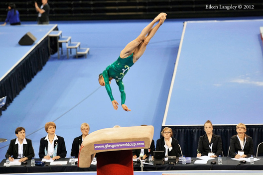Kaitlyn Hofland (Canada) competing on Vault at the 2012 FIG World Cup in the Emirates Arena