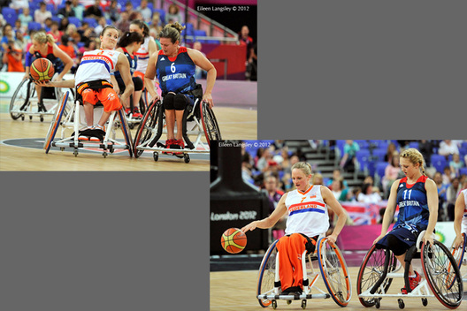 Number 6 Jitske Visser (Netherlands) and number 6 Clare Strange (Great Briatin) in an encounter and Roos Oosterbaan holds off Maddie Thompson during their wheelchair basketball match at the London 2012 Paralympic Games.