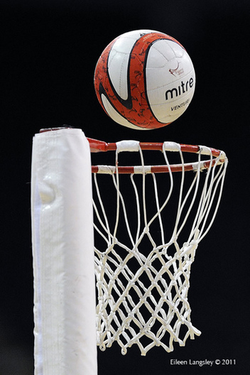 A cropped generic image of a Netball about to score a goal at the match between England and New Zealand
