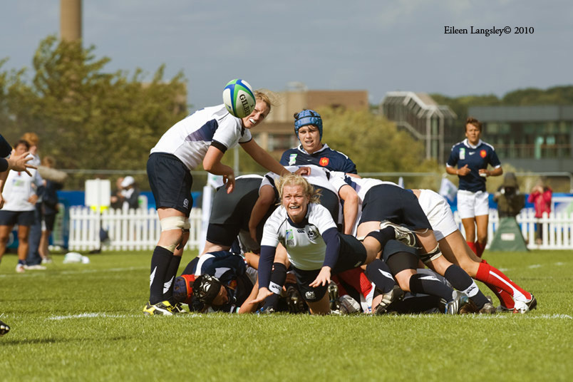Action from the France versus Scotland match at the 2010 Women's World Cup Rugby at Surrey Sports Park August 24th.