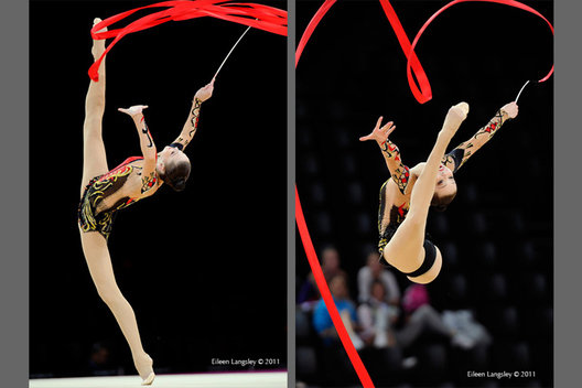 Alina Maksymova (Ukraine) competing with Ribbon at the World Rhythmic Gymnastics Championships in Montpellier.